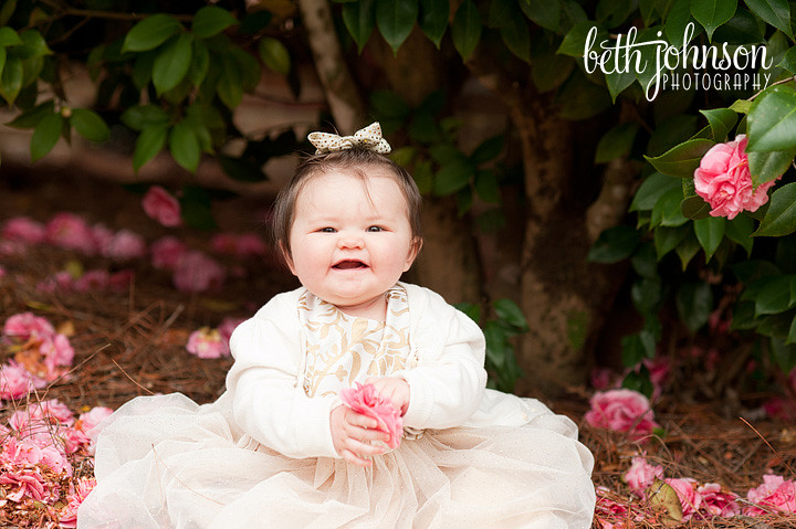 baby girl with pink roses maclay gardens tallahassee
