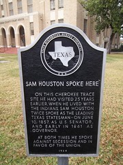 Photo of Sam Houston black plaque