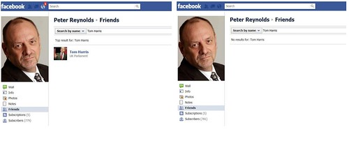 Tom Harris MP removes Peter Reynolds as a Facebook friend.