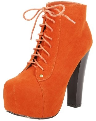 Victoria Lace Up Bright Ankle Boots ORANGE