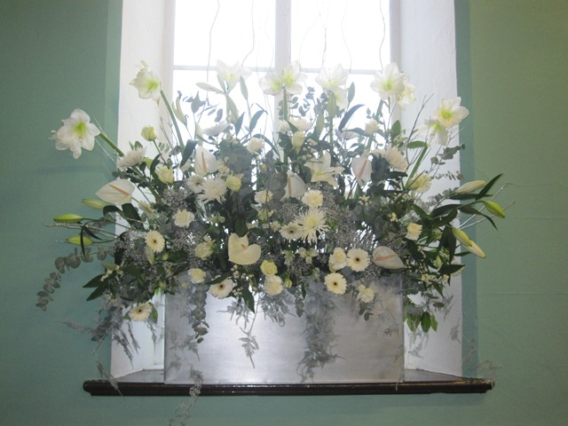 MAIA White Winter Wedding Church Arrangement Display