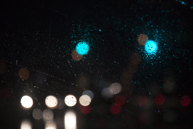 rainy city lights