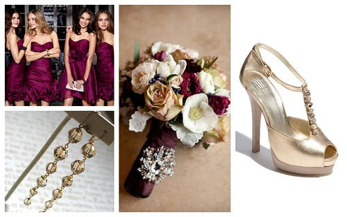 {Wine & Gold} Bridesmaids' Style by Nina Renee Designs