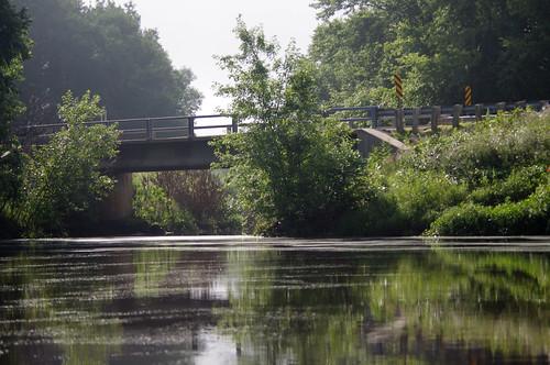 bridge trees summer reflection nature water wisconsin river landscape woods peaceful mauston lemonweir juneaucounty