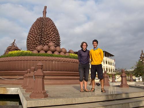 Justin + Emma at Durian statue - Kampot