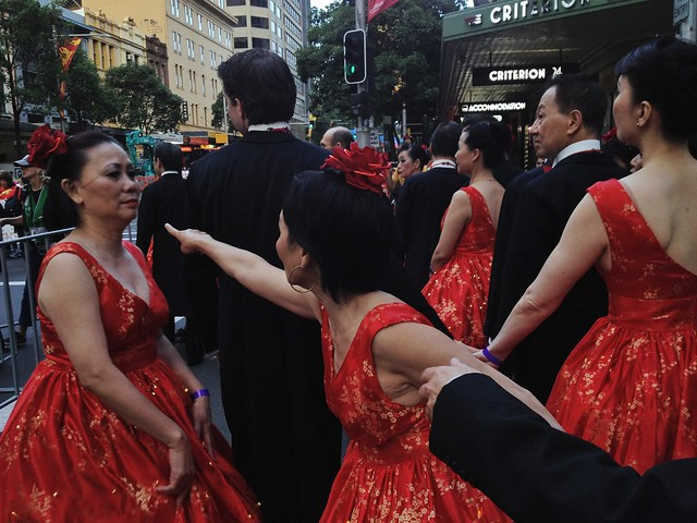 Dancers, preparing for the Chinese New Year Parade in Sydney