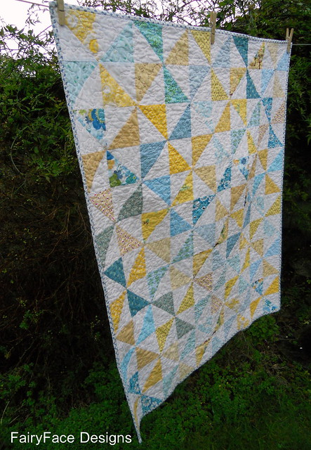 Fresh Pinwheels quilt finished side view
