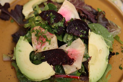Roasted Celeriac and Beet Salad with Avocado and Baby Greens