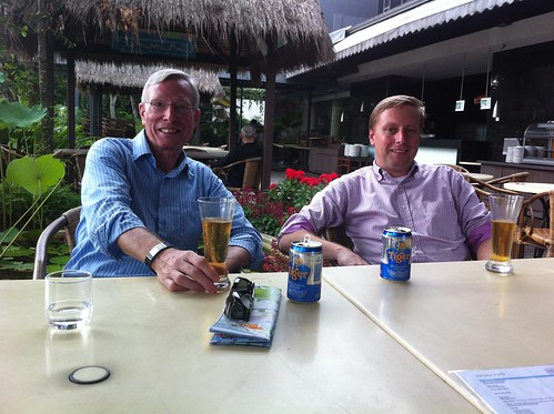 Having a beer with my dad on Sentosa