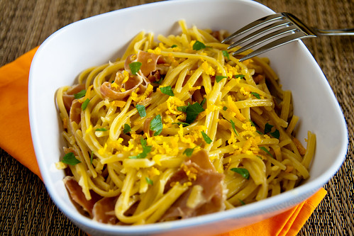 Prosciutto and Orange Cream Sauce with Szechuan Orange Spice Linguine