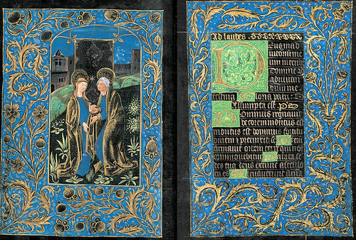 006-Visitación-Horas de la Virgen-Laudes- The Black Hours-Ms M.493- fols. 39V-40R -© The Morgan Library & Museum