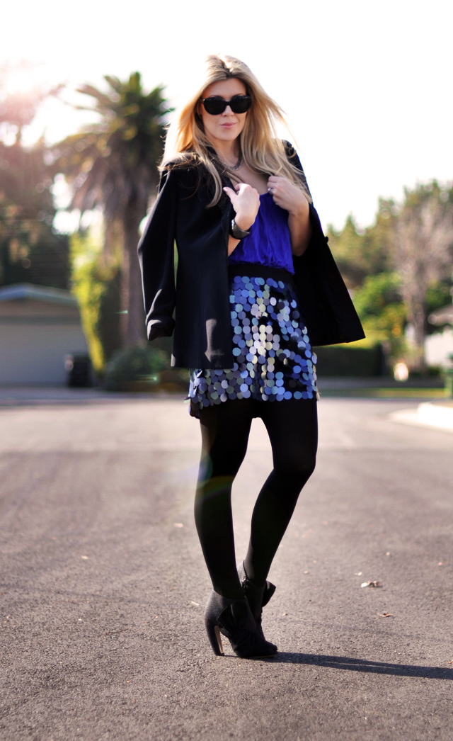 New black and blue- Paillette-embellished skirt and blazer-