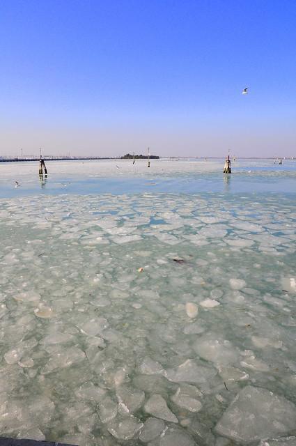 Laguna di Venezia ghiacciata da San Giobbe