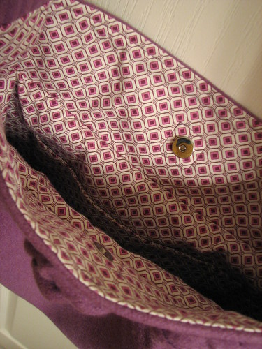 Purple wool bag interior