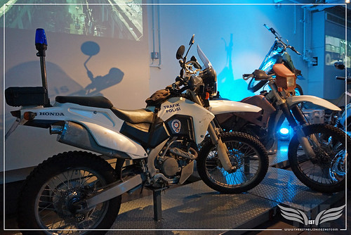 The Establishing Shot BOND IN MOTION - PATRICE'S HONDA CRF250R & JAMES BOND'S HONDA CRE250R FROM THE SKYFALL OPENING SCENE @ LONDON FILM MUSEUM COVENT GARDEN by Craig Grobler
