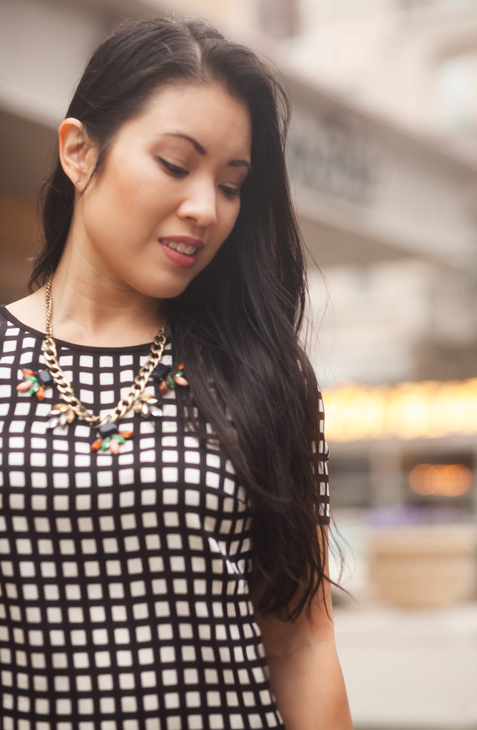 cute & little blog | windowpane silk shirt, statement necklace outfit