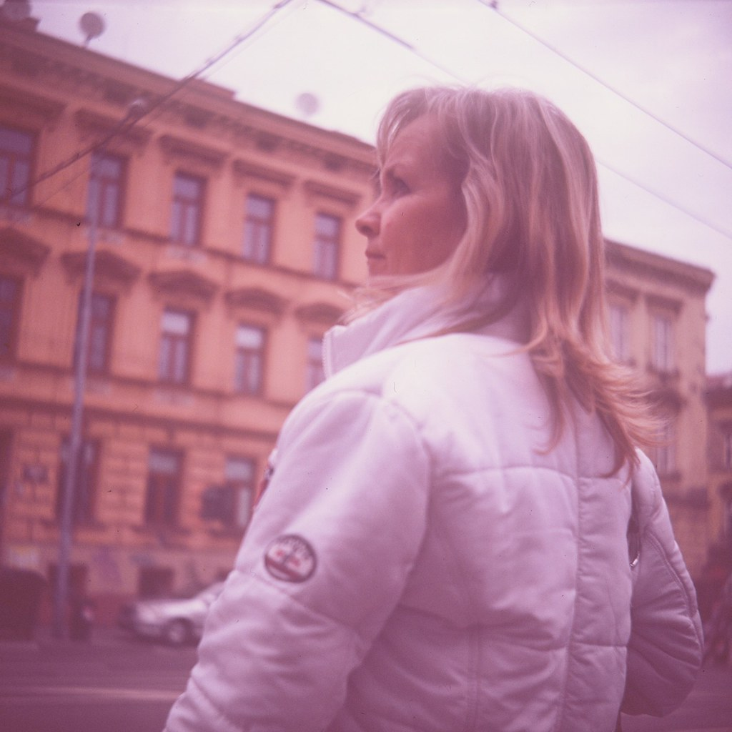 Lubitel 2 - Woman at Tram Stop