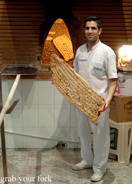 Freshly baked sangak Persian bread during a Frying Pan Adventures food tour in Dubai