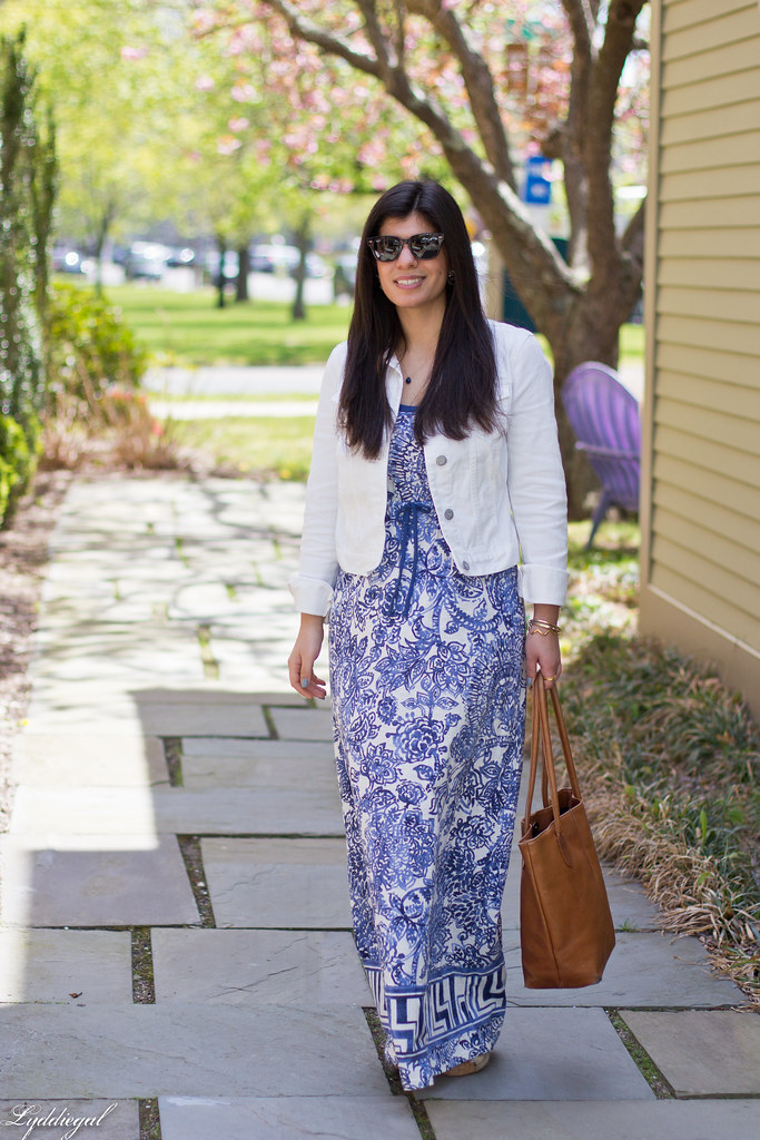 floral maxi dress, white denim jacket, brown tote.jpg