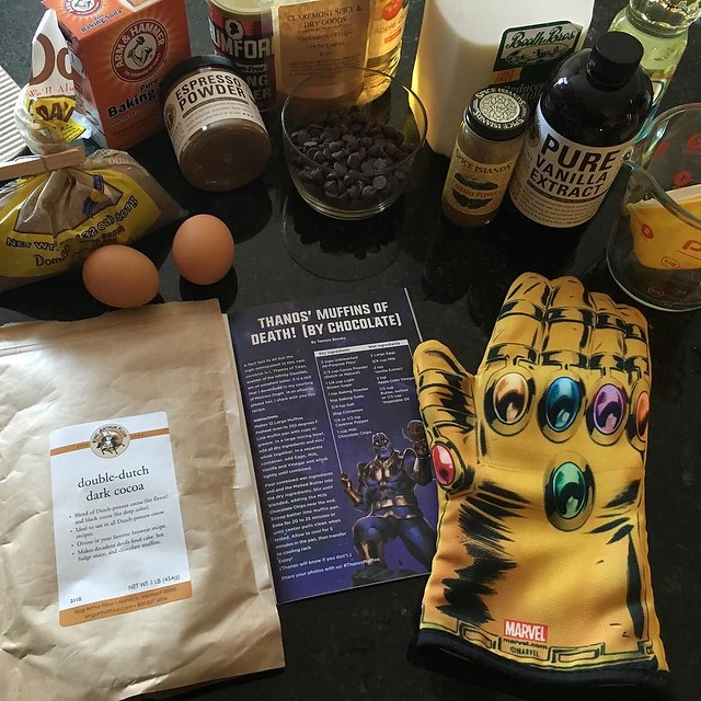 Loot Crate arrived with a mother-flippin' Infinity Gauntlet oven mitt and a recipe for Thanos' muffins of Death. #lootcrate #infinitygauntlet #marvel #thanosmuffins #kingarthurflour