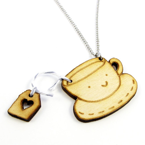 Tea Time Wood Charm Necklace Earl Gray Flavor 2