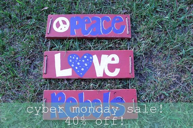 peace love rebels - cyber monday sale