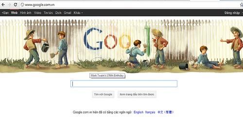 Google Logo 176th Birthday Mark Twain