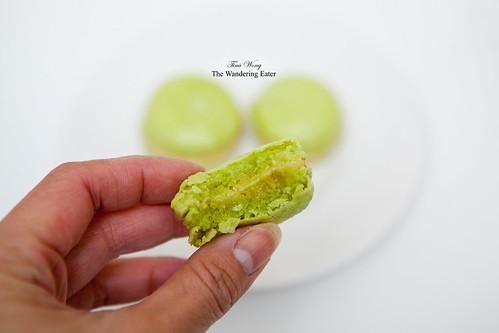 My bitten homemade pistachio macarons