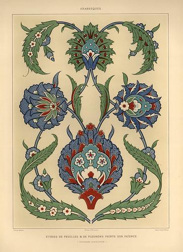 007-Hojas y floretes sobre loza esmaltada-L'art arabe d'apres les monuments du Kaire…Vol 2-1877- Achille Prisse d'Avennes y otros.
