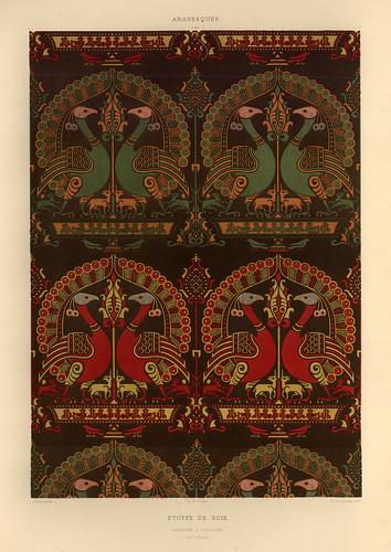 008-Tela de seda-siglo XIV-L'art arabe d'apres les monuments du Kaire…Vol 2-1877- Achille Prisse d'Avennes y otros.