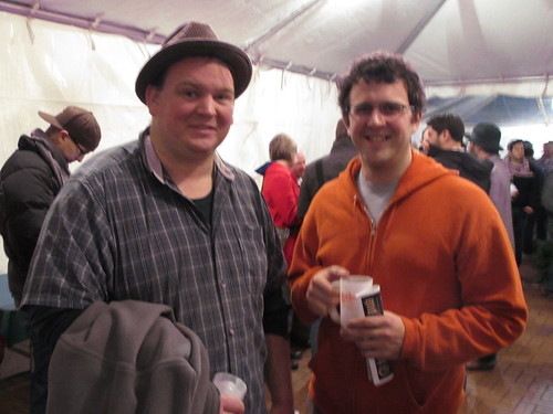 Harvester brewers James Neumeister (left) and John Dugan at Holiday Ale Festival