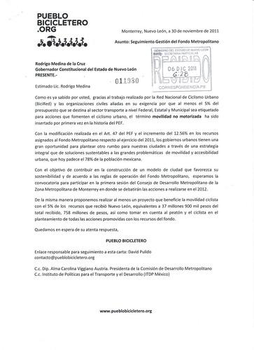 Carta a Rodrigo Medina sobre seguimiento de la gestión del Fondo Metropolitano en ZMM