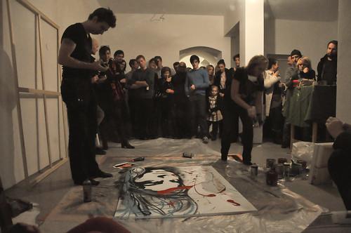 Lendnine - Action Painting am Eröffnungsabend