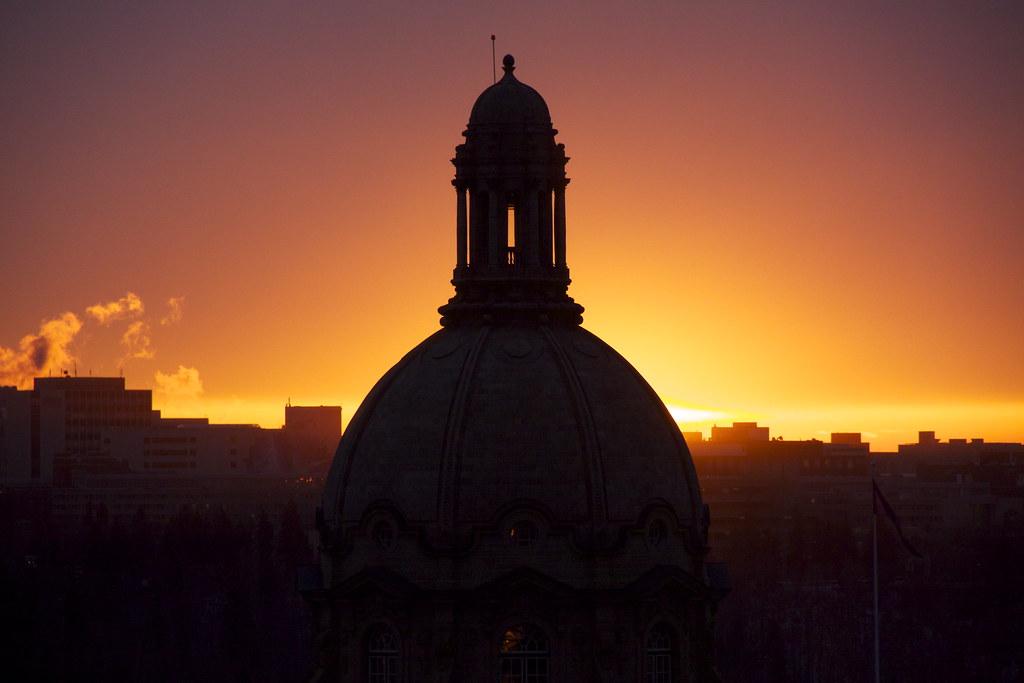 Sunset at Alberta's Legislative Assembly Building - December 13, 2011