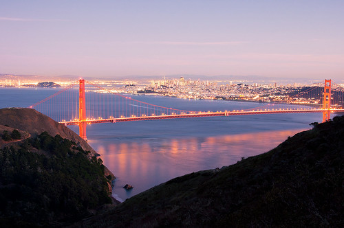 Golden Gate Bridge from Hawk Hill at Night