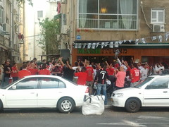 Man united fans in Tel Aviv Israel                             celebrating championship 2011
