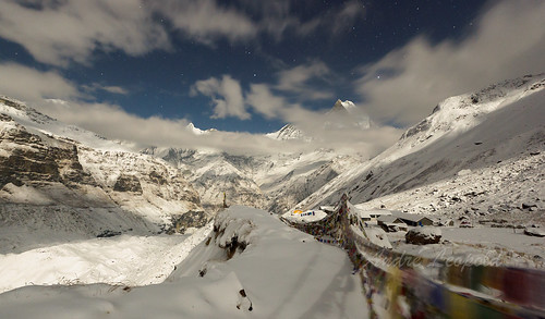 Annapurna Sanctuary in Moonlight
