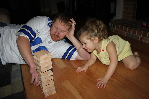 Playing Jenga on Christmas Eve