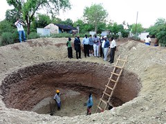 Excavations of a biogas dome visited by project partners