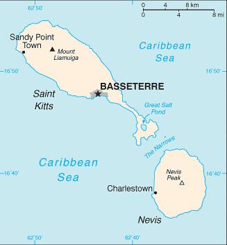 carte Saint-Christophe-et-Niévès