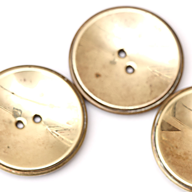 3 large vintage brass buttons 30mm
