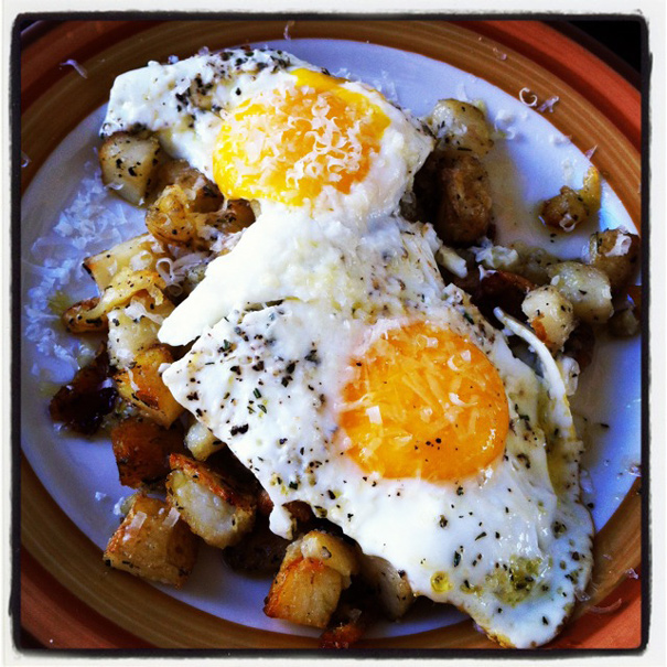 Scoop potatoes on to each plate, top with two eggs and–here's the ...