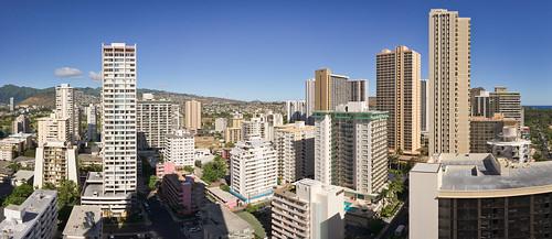 morning view of Waikiki, O'ahu, Hawai'i (panorama)