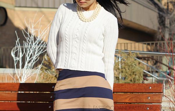 ootd hm skirt ysl mary jane aeropostale sweater loft pearl necklace