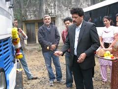 Mr Shenoy of Mahindra & Mahindra doing the Puja