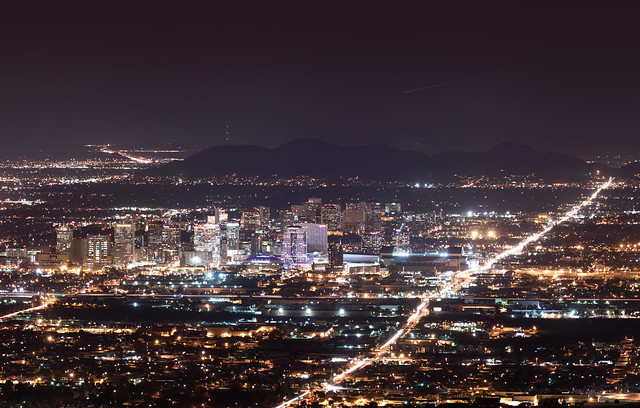 Downtown Phoenix Skyline at Night by CC user squeaks2569 on Flickr