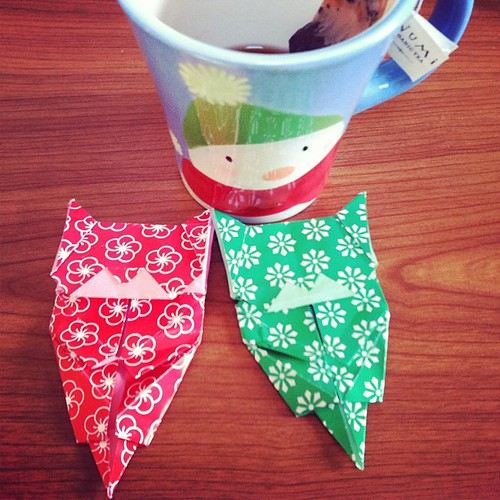 "#janphotoaday  Jan 16 ""morning"" tea & my first try at origami"