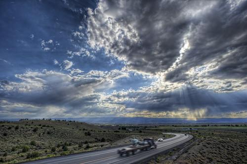 road sunset usa clouds truck landscape utah view web northamerica geotag hdr 2010 egne bo47 bonielsen nikond3s