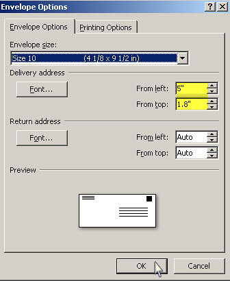 Print address on A-7 envelope with Microsoft Word 2007