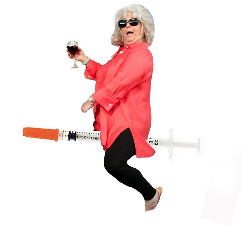 Paula Deen riding an insulin needle
